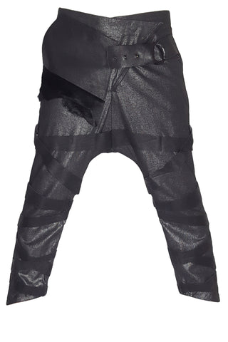 Shop Emerging Conscious Avant-garde Gender-free Brand Supramorphous Black Low Crotch V01 Pants at Erebus