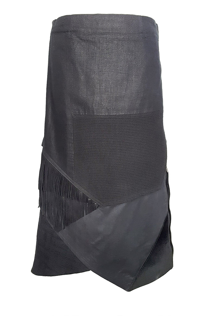 Shop Emerging Conscious Avant-garde Gender-free Brand Supramorphous Long Black Layered Skirt at Erebus