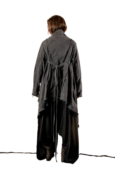 Shop Emerging Slow Fashion Genderless Avant-garde Designer Mark Baigent Draped Babayaga Coat at Erebus