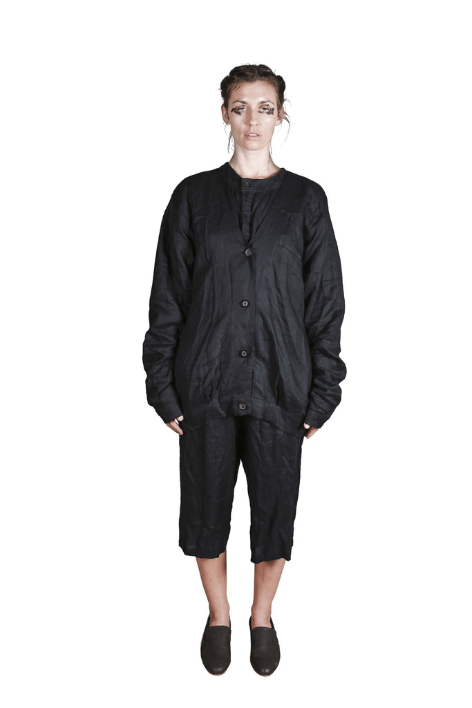 Shop Emerging Slow Fashion Genderless Avant-garde Designer Mark Baigent Rhiannon Collection Black Bad Angel Jacket at Erebus