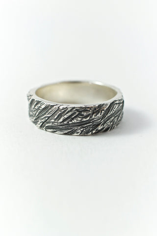 Shop Emerging Conscious Avant-garde Brand Black Rock Jewel Band Carved Ring at Erebus