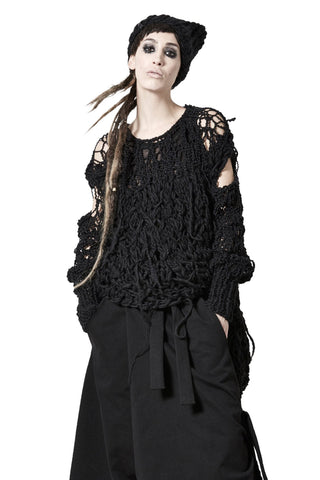 Shop sustainable, luxury, avant-garde Designer Barbara I Gongini Black Hand Knit Beanie at Erebus