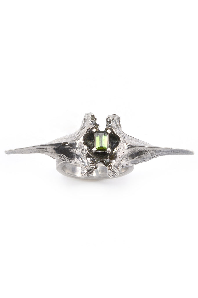 Emerging slow fashion jewellery brand Eilisain Bast Double Spine Ring in Silver with tourmaline - Erebus