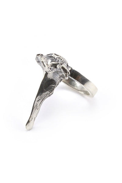 Emerging slow fashion jewellery brand Eilisain Bast Single Spine Ring in Silver - Erebus - 2