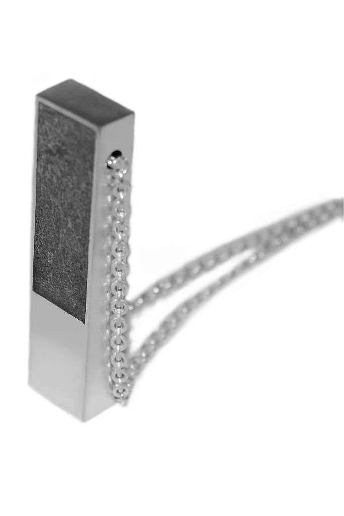 Shop Emerging Slow Fashion Avant-garde Jewellery Designer David Gaboriau Polished Silver and Concrete Beam Necklace at Erebus