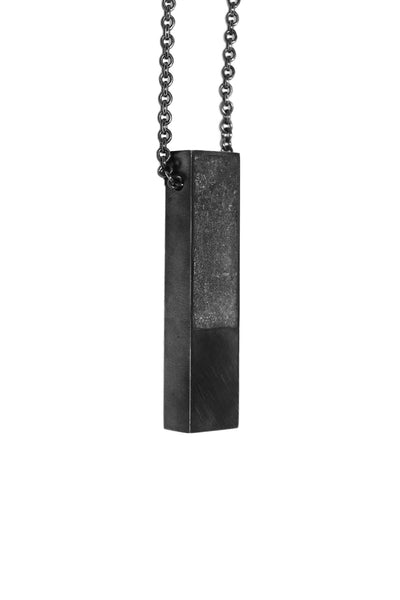 Shop Emerging Slow Fashion Avant-garde Jewellery Designer David Gaboriau Oxidised Silver and Concrete Beam Necklace at Erebus