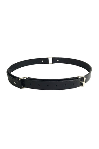 Shop Emerging Conscious Slow Fashion Avant-garde Designer Marco Scaiano Black Leather Treysa Belt at Erebus