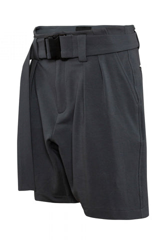 Shop Emerging Unisex Street Brand Monochrome Dark Grey Belted Gusset Shorts at Erebus