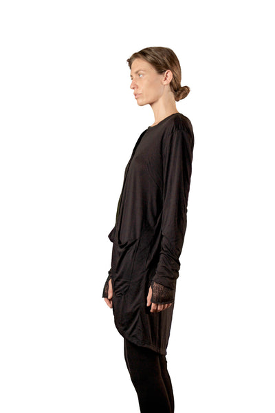 Shop Emerging Slow Fashion Genderless Avant-garde Designer Mark Baigent Black Benet Cardigan at Erebus