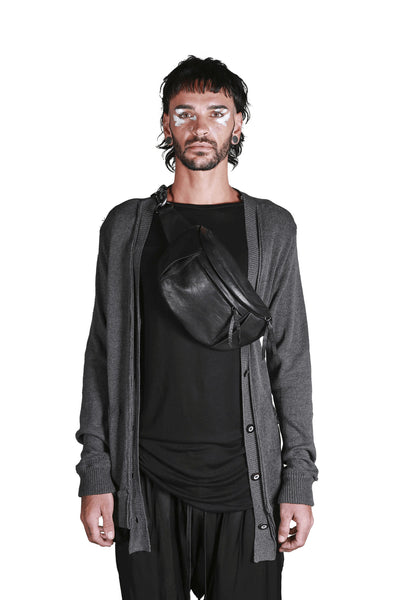 Shop Emerging Slow Fashion Genderless Avant-garde Designer Mark Baigent Rhiannon Collection Black Reclaimed Leather Big Love BumBag at Erebus