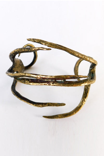 Shop Emerging Slow Fashion Conscious Designer Stacy Hopkins Jewelry Bronze American Bittern Foot Cuff Bracelet at Erebus