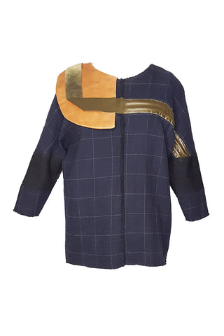 Shop Emerging Conscious Avant-garde Gender-free Brand Supramorphous Blue Wool Geo Blouse at Erebus