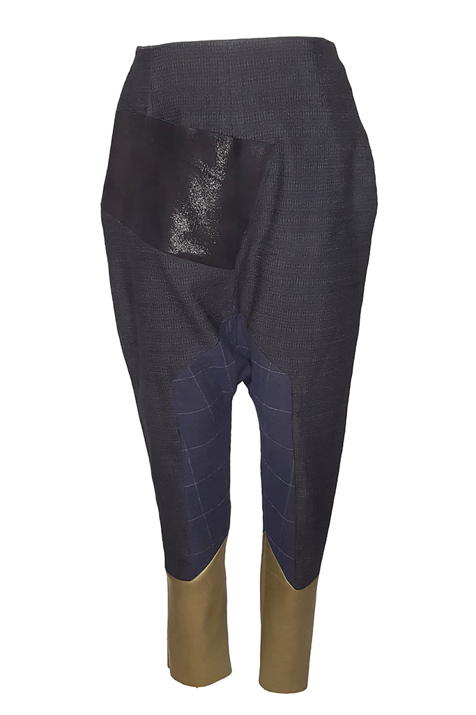 Shop Emerging Conscious Avant-garde Gender-free Brand Supramorphous Blue Green Wool and Leather Crop Pants at Erebus
