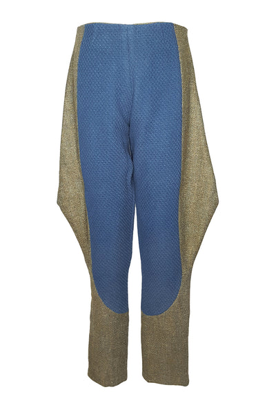 Shop Emerging Conscious Avant-garde Gender-free Brand Supramorphous Blue and Green Wool Geo Riding Pants at Erebus