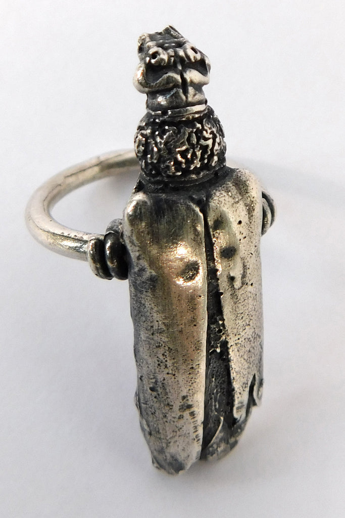 Shop Emerging Slow Fashion Conscious Designer Stacy Hopkins Jewelry Silver Borer Beetle Ring at Erebus