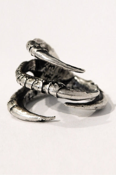 Shop Emerging Slow Fashion Conscious Designer Stacy Hopkins Jewelry Silver Broad Winged Hawk Foot Ring at Erebus