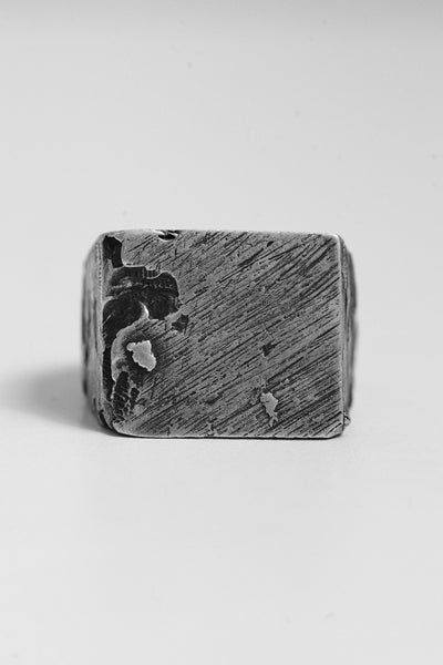 Shop Emerging Avant-garde Brand OSS Cannibal Square Signet Ring at Erebus