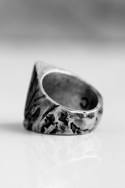 Shop Emerging Avant-garde Brand OSS Cannibal Triangle Signet Ring at Erebus