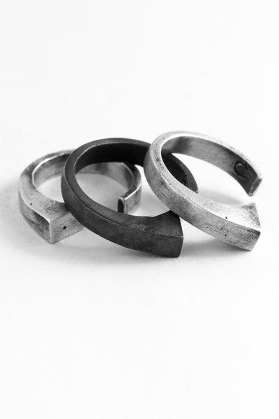 Shop Emerging Slow Fashion Avant-garde Jewellery Brand OSS Haus Awakening Collection Silver Centurion Ring Set at Erebus