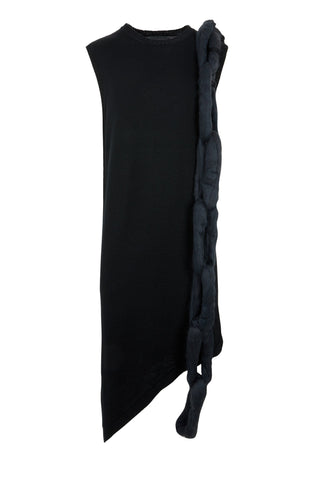 Shop Emerging Slow Fashion Avant-garde Unisex Brand Dhenze Kollektion 5 Black on Black Chainscarf Sleeveless Dress at Erebus