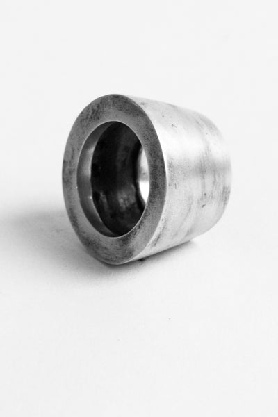Shop Emerging Slow Fashion Avant-garde Jewellery Brand OSS Haus Awakening Collection Silver Cilindro Ring at Erebus