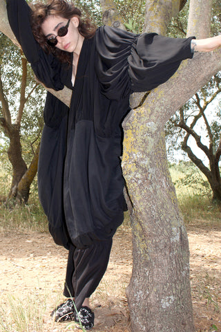 Shop emerging slow fashion conceptual genderless brand CLON8 black Wave Kaftan at Erebus