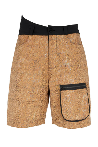 Shop Emerging Slow Fashion Avant-garde Unisex Brand Dhenze Kollektion 5 Cork Vault Waist Shorts at Erebus