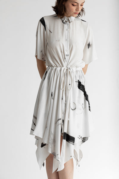 Shop Emerging Conscious Avant-garde Genderless Brand Venia Collection Jan Mccarthy Print Cosette Dress at Erebus