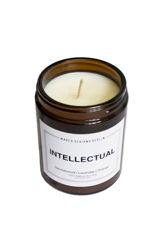 Shop Emerging Conscious Slow Fashion Avant-garde Designer Marco Scaiano Sandalwood Lavendar and Orange Intellectual Natural Soy Wax Candle at Erebus