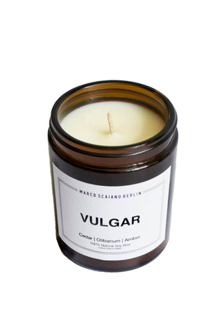 Shop Emerging Conscious Slow Fashion Avant-garde Designer Marco Scaiano Cedar Olibanum and Amber Vulgar Natural Soy Wax Candle at Erebus