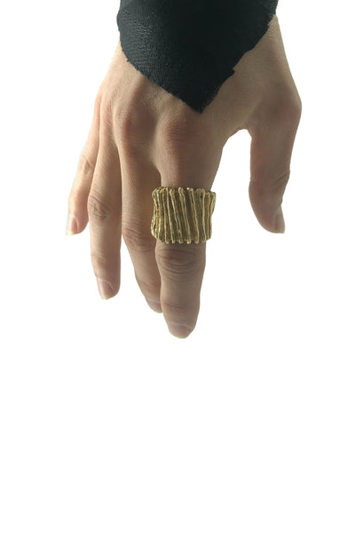 Shop Emerging Avant-garde Jewellery Brand Relics by Geo Bronze Cannelure Ring at Erebus