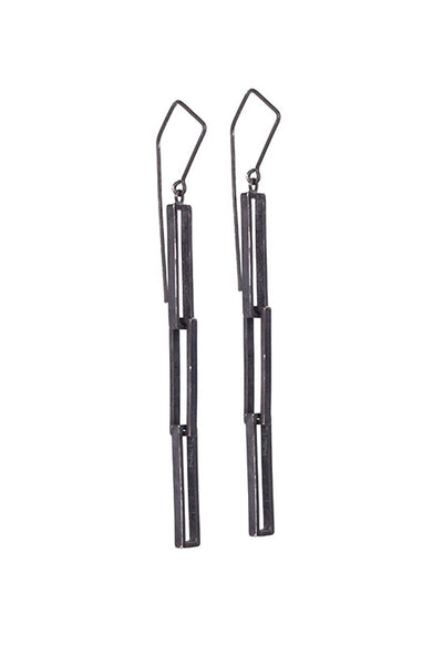 Shop Emerging Structural Jewellery Brand Conservation of Matter Long Blackened Silver Link Earrings at Erebus