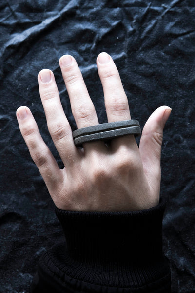 Shop Emerging Avant-garde Jewellery Brand Surface/Cast Black Concrete Channel Double Ring at Erebus