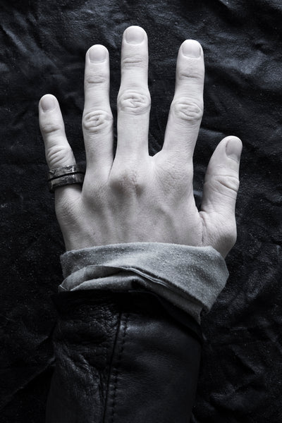 Shop Emerging Avant-garde Jewellery Brand Surface/Cast Blackened Bronze Channel Medium Ring at Erebus
