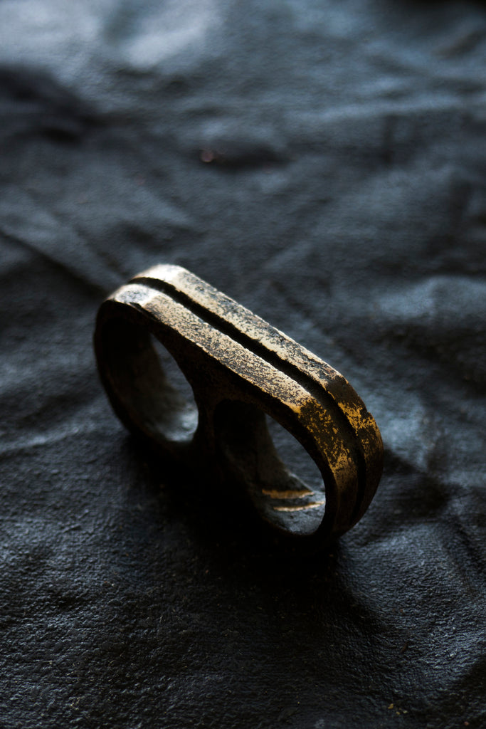 Shop Emerging Avant-garde Jewellery Brand Surface/Cast Blackened Bronze Channel Double Ring at Erebus