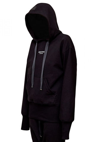 Shop Emerging Unisex Street Brand Monochrome Black Classic Hooded Sweatshirt at Erebus