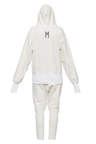 Shop Emerging Unisex Street Brand Monochrome Off-White Classic Hooded Sweatshirt at Erebus