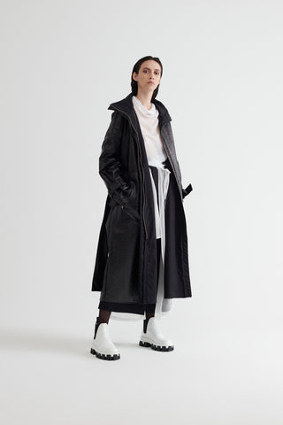 Conscious Womenswear Brand Symetria Black Consecutive Trench Coat at Erebus