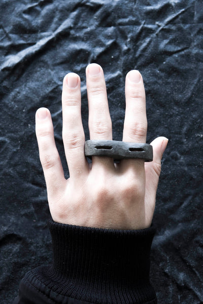 Shop Emerging Avant-garde Jewellery Brand Surface/Cast Black Concrete Crevasse Double Ring at Erebus