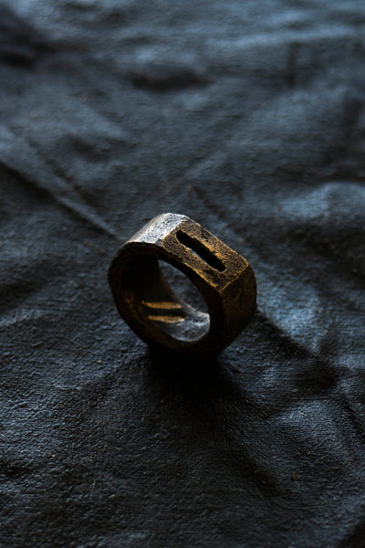 Shop Emerging Avant-garde Jewellery Brand Surface/Cast Blackened Bronze Crevasse Small Ring at Erebus