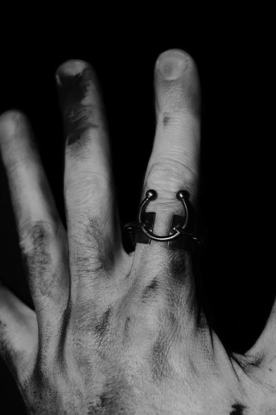 Shop Emerging Slow Fashion Avant-garde Jewellery Designer David Gaboriau Cross Ring at Erebus