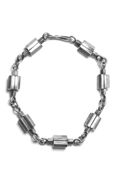 Shop Emerging Avant-garde Slow Fashion Unisex Brand Draug Jewellery Silver Cruciform Bracelet at Erebus