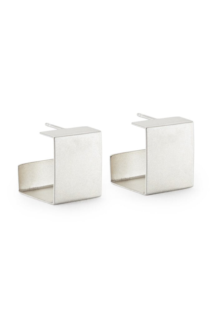 Shop Emerging Structural Jewellery Brand Conservation of Matter Silver Cube Post Earrings at Erebus