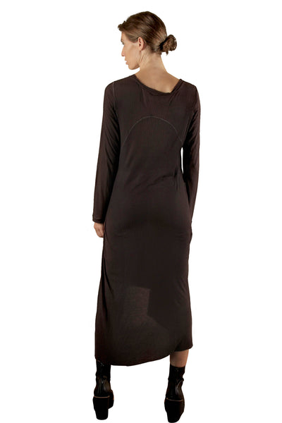 Shop Emerging Slow Fashion Genderless Avant-garde Designer Mark Baigent Rib Bamboo Cutout Dress at Erebus