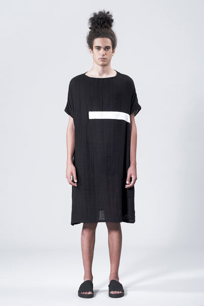 Shop Emerging Slow Fashion Avant-garde Genderless Brand Vague White Lines Dress at Erebus
