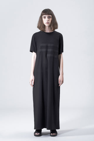 Shop Emerging Slow Fashion Avant-garde Genderless Brand Vague Black Lines Dress at Erebus
