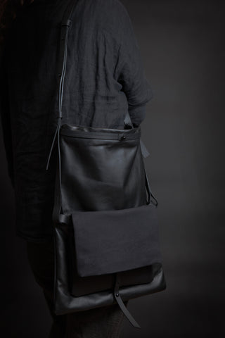 Shop Emerging Conscious Avant-garde Designer Brand MDK Miranda Kaloudis Black Dis Transformable Messenger Bag at Erebus