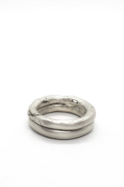 Shop Emerging Slow Fashion Avant-garde Jewellery Brand OSS Haus Broken Dreams Collection White Silver Double Dream Ring at Erebus