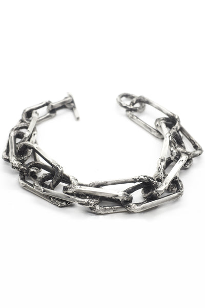 Shop Emerging Slow Fashion Avant-garde Jewellery Brand OSS Haus Broken Dreams Collection Oxidised Silver Dream Chain Bracelet at Erebus