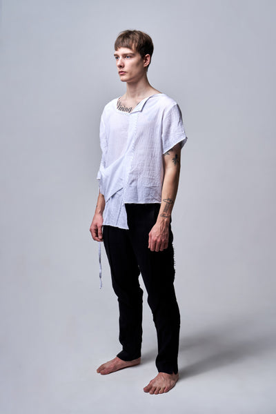 Shop Emerging Conscious Agender Avant-garde Brand Nomad Goba Idiocy Collection Sheer White Deconstructed T-Shirt at Erebus